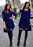 ByChicStyle Casual New Women Dark Blue Plain Draped Scoop Neck Fashion Spandex Mini Dress