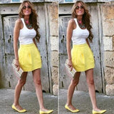 ByChicStyle Casual New Women White Patchwork U-neck Shirt And Yellow Fashion Skirt