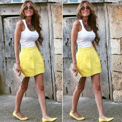 Casual New Women White Patchwork U-neck Shirt And Yellow Fashion Skirt