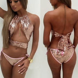 ByChicStyle Patchwork Sequin Cut Out 2-in-1 Round Neck Swimwear