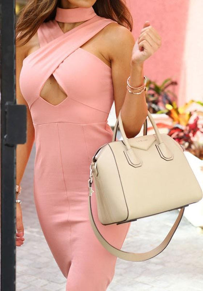 Pink Plain Hollow-out High Neck Midi Dress