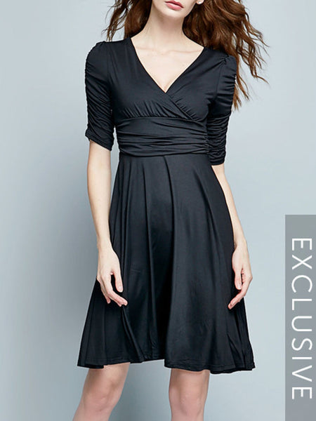 Ol Style Surplice Plain Skater-dres - Bychicstyle.com