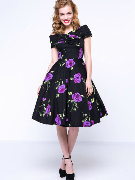 Floral Printed Vintage Awesome Open Shoulder Skater Dress - Bychicstyle.com
