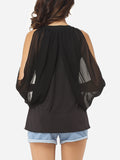 ByChicStyle Hollow Out Plain Cape Sleeve Dramatic Off Shoulder Blouse - Bychicstyle.com