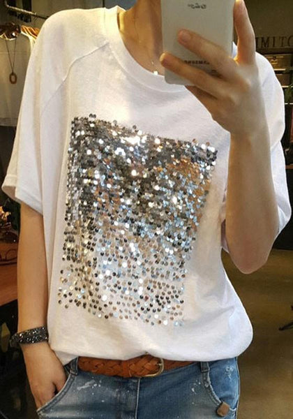 White Patchwork Sequin Round Neck Casual Going out T-Shirt