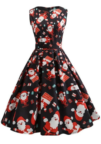 Black Christmas Floral Bow Zipper Pleated A Type Vintage Midi Dress