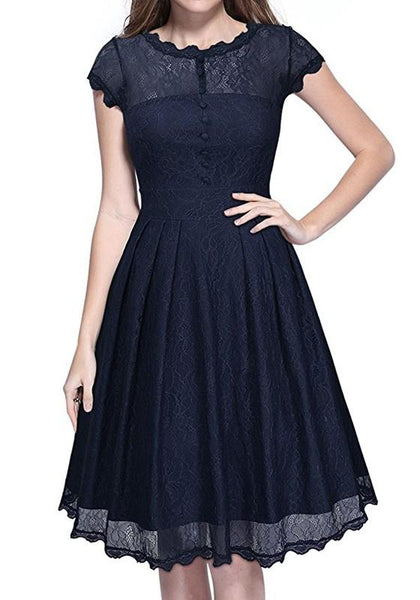 Blue Patchwork Lace Grenadine Round Neck Sleeveless Midi Dress