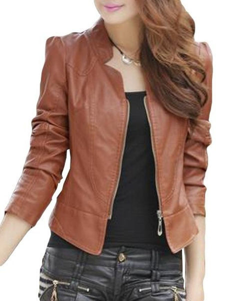 Stylish Plain Charming Band Collar Jacket - Bychicstyle.com