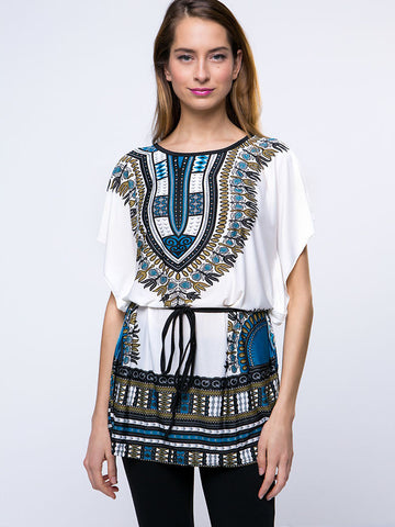 Round Neck Tribal Printed Casual Short Sleeve T-Shirt - Bychicstyle.com