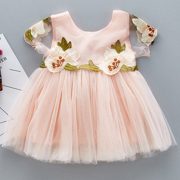 Casual Elegant Baby Girls Flower Embroidered Christening Dresses
