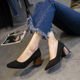 ByChicStyle Casual Vintage Pure Color Suede Square Heel Casual Shoes