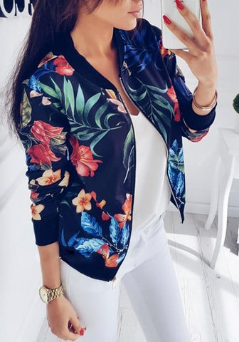 Black Floral Print Round Neck Zipper Casual Cotton Coat