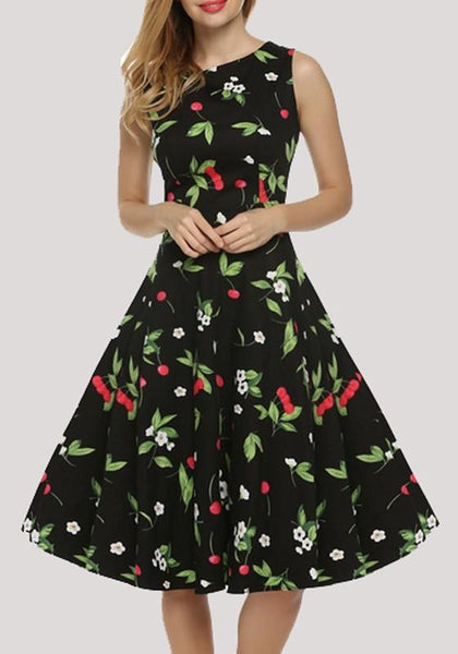 Black Floral Print Draped Bodycon Tutu Vintage Party Midi Dress
