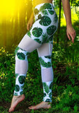 ByChicStyle White Green Patchwork Grenadine Tree Leaves Bodycon Sports Yoga Long Leggings