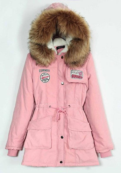 Pink Pockets Drawstring Zipper Faux Fur Hooded Casual Winter Warm Parka Coat