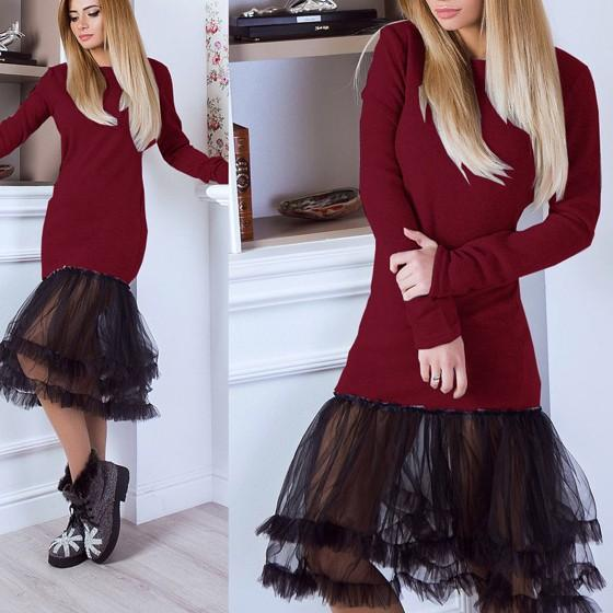 Red Patchwork Grenadine Round Neck Long Sleeve Sweet Midi Dress