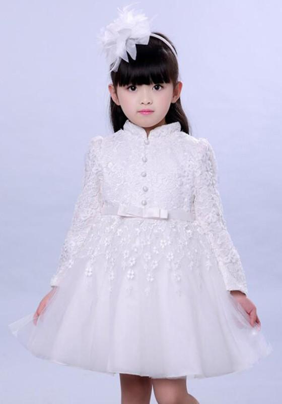 White Patchwork Lace Grenadine Fluffy Puffy Tulle Tutu Children Wedding Gowns Midi Dress