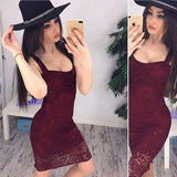 ByChicStyle Red Patchwork Lace Backless Spaghetti Strap Homecoming Party Midi Dress