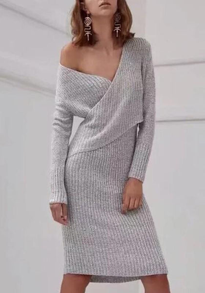 Grey Off-Shoulder Long Sleeve Sweater Midi Dress