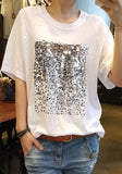 ByChicStyle White Patchwork Sequin Round Neck Casual Going out T-Shirt