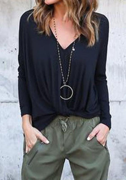 Black Pleated V-neck Casual Going out T-Shirt
