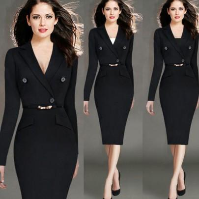 Black Plain Belt Buttons Tailored Collar Office Worker Midi Dress
