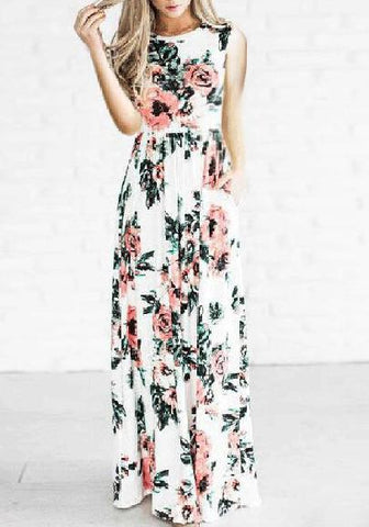 White Floral Draped Round Neck Short Sleeve Bohemian Maxi Dress