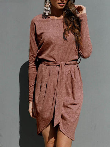 Asymmetric Belted Mini Dress