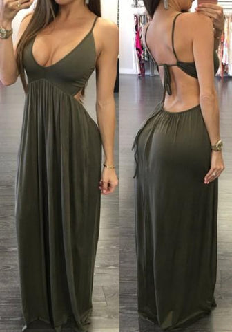Army Green Cut Out Tie Back Backless Spaghetti Strap Casual Maxi Dress