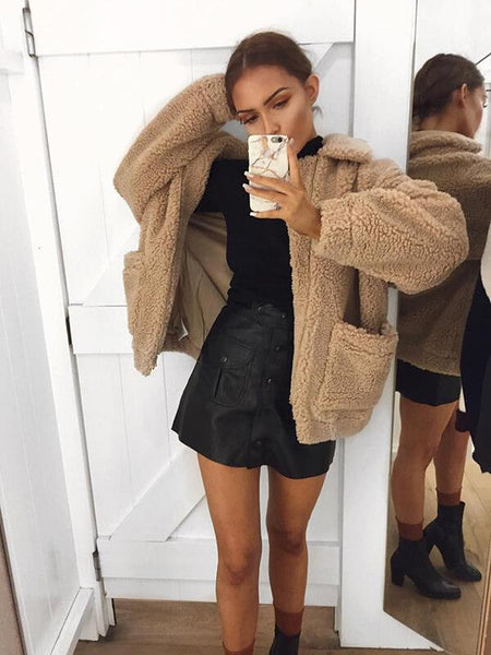 Autumn Warm Teddy Bear Coat Women Thick Faux Fur Jacket