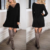 ByChicStyle Casual New Women Black Plain Hollow-out V-neck Long Sleeve Mini Dress
