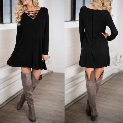 Casual New Women Black Plain Hollow-out V-neck Long Sleeve Mini Dress