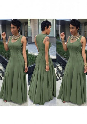Army Green Plain Pleated Round Neck Big Swing Plus Size Prom Maxi Dress