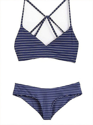 Casual On Holiday Lace Up Striped Bikini Set