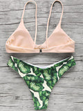 ByChicStyle Casual Pink Up Leaf Print Halter Bikini Set