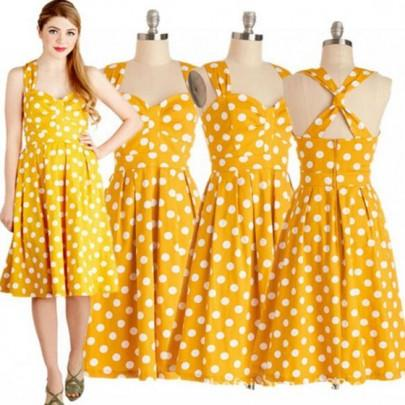 Yellow Polka Dot Print Cross Back Audrey Hepburn 1950'S Style Vintage Midi Dress