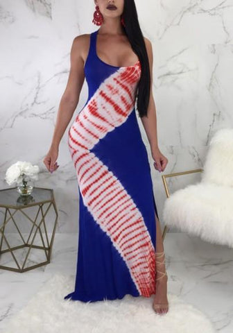 Blue Striped Shoulder Strap U-neck Side Slit Party Bohemian Maxi Dress
