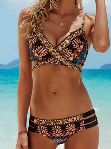 Casual Cute Boho Cross Multi Color Bikini Set