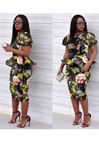 Black Floral Print Ruffle Peplum Bodycon Elegant Midi Dress