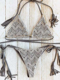ByChicStyle Casual Lace Plain Color Tassels Bikini Set