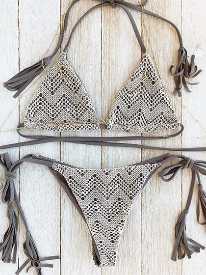 Casual Lace Plain Color Tassels Bikini Set