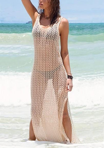Beige Cut Out Side Slit Bikini Cover Up Backless Beach Smock Maxi Dress