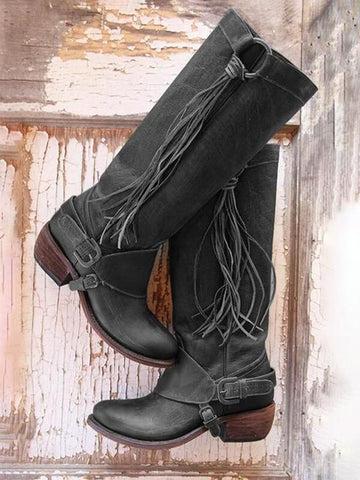 Brown Round Toe Tassel PU Leather Buckle Fashion Boho Mid-Calf Boots