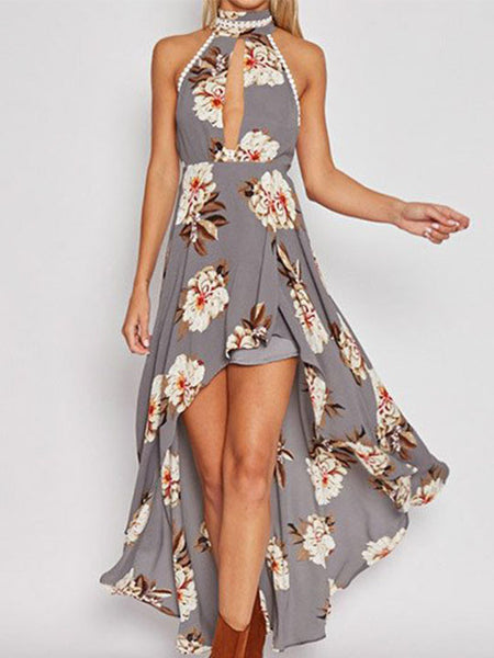 Casual Fashion Keyhole Floral Print Open Back Dress