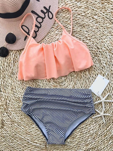 Casual Cute Striped High Rise Flounce Bikini Set