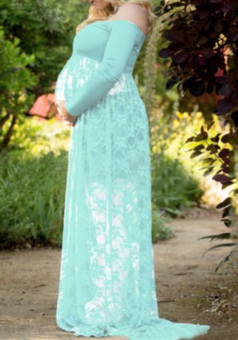 Green Lace Draped Slit Off Shoulder Maternity For Babyshower Elegant Party Maxi Dress