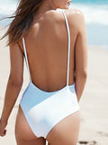 ByChicStyle Casual Instant Vacation Open Back Solid Color One Piece Bikini
