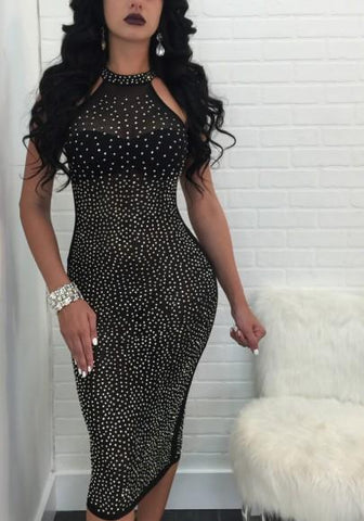 Black Mosaic Rhinestone Off Shoulder Bodycon Party Midi Dress