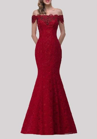 Red Patchwork Drawstring Lace Off Shoulder Backless Mermaid Bodycon Elegant Maxi Dress