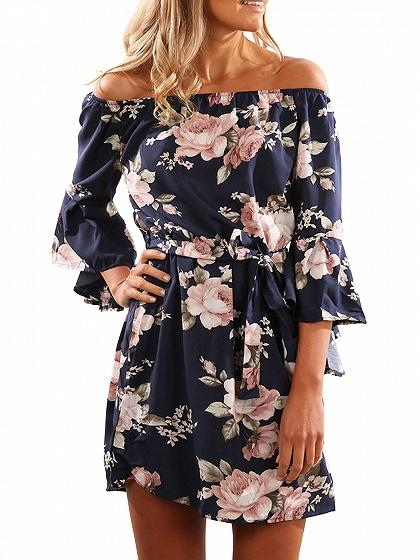 Blue Off Shoulder Flared Sleeve Tie Waist Mini Dress
